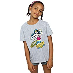 DC Comics niñas Wonder Woman Lasso Camiseta 7-8 Years Gris Sport
