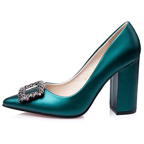 Oasap Women's Pointed Toe Rhinestone Chunky Heels Slip on Pumps Grey