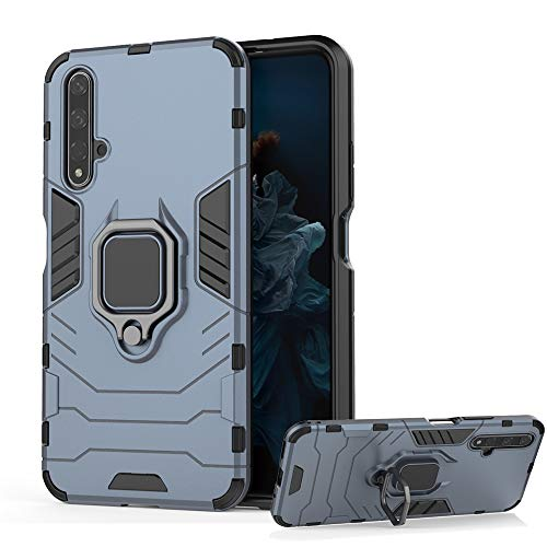 desche per cover huawei nova 5t / honor 20, cover per staffa dell'anello + vetro temperato, compatibile con supporto magnetico per auto - marino