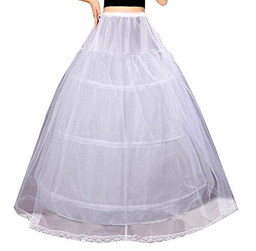 Edith qi Damen Reifrock, 2/3/4 Ringe Unterröcke für Hochzeit Brautkleid, Verstellbar Unterrock Crinoline Petticoat Slip, Eine Größe, für Gr. 34 bis Gr.50 (Rock Slip Hochzeit)