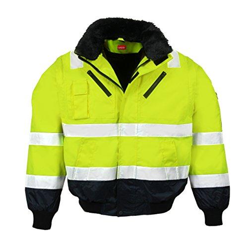 LeiKaTex Warnschutz-Pilotenjacke Winter gefüttert 4 in 1 Funktion mit Kapuze, Winddicht & Wasserabweisend für Herren und Damen (L, Neongelb/Marine) -
