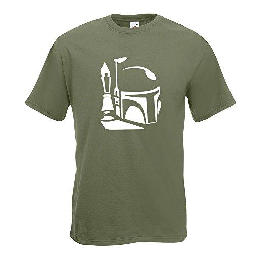 KIWISTAR - Boba Fett Helm 2 T-Shirt in 15 verschiedenen Farben - Herren Funshirt bedruckt Design Sprüche Spruch Motive Oberteil Baumwolle Print Größe S M L XL XXL Olive