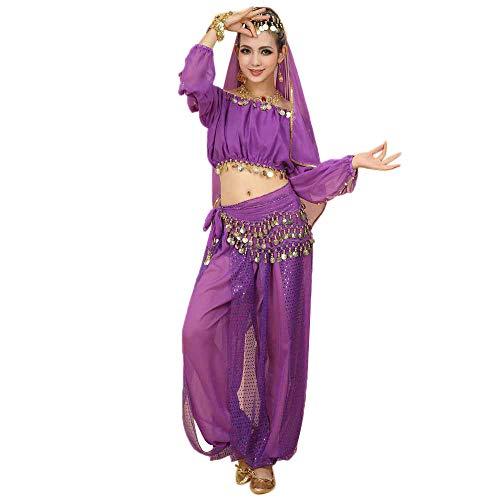 Zolimx Damen Kostüm Anzug Neue Bauchtanz-Kostüme Set Indian Tanzkleid Kleidung Top Hosen ()