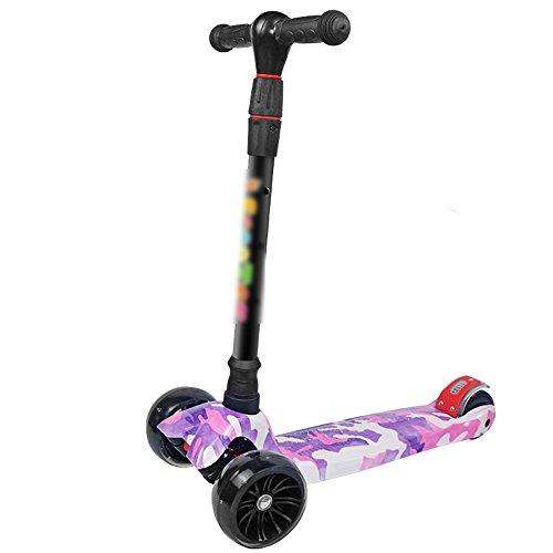 QFFL huabanche Scooter de Tres Ruedas Scooter para Principiantes Niños de 3-12 años Twist Car Flash Coche Deslizante 2 Colores Opcional (Color : A)