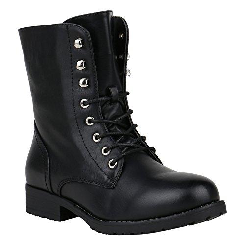 Damen Stiefel Leicht Gefütterte Stiefeletten Schnürstiefeletten Schuhe 150341 Schwarz Schnürung 38 Flandell