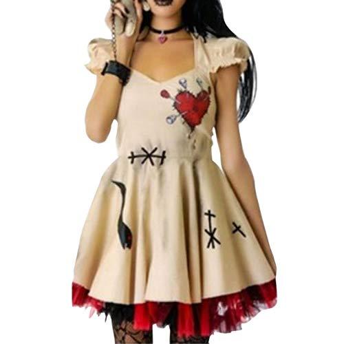 Wenyujh' Damen Holloween Kostüme Kleider Gotisch Karneval Halloween Fasching Knielang Kurzarm A-Linie