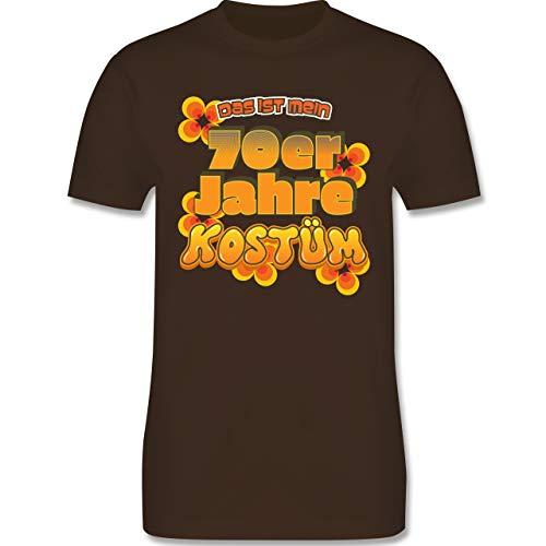 Karneval & Fasching - Das ist Mein 70er Jahre Kostüm - XL - Braun - L190 - Herren T-Shirt Rundhals
