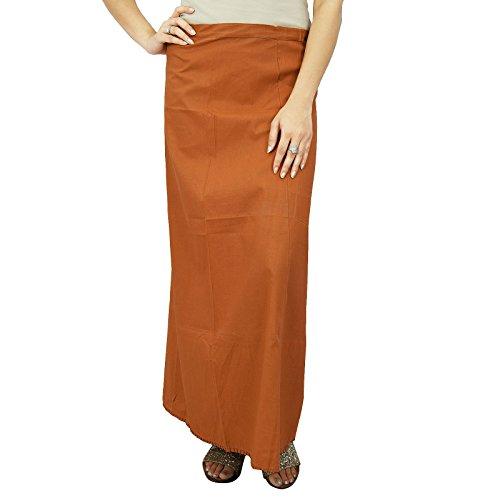 Inskirt Futter Für Sari Ethnischen Indischen Fertigter Fester Baumwolle Petticoat Geschenk braun-1