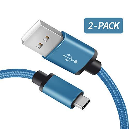 Für Samsung Galaxy S9 USB C Ladekabel, Fundro [2-Pack 1M] Nylon Typ C Kabel/Datenkabel für Samsung Galaxy S9 Plus / S8 / S8 Plus, Note 8 / Note 9 und mehr (Coral Blau)