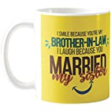 Yaya Cafe Birthday Gift For Brother In Law Funny Teasing I Smile I Laugh Jiju Mug, Coaster Gift Combo Of 2 Birthday