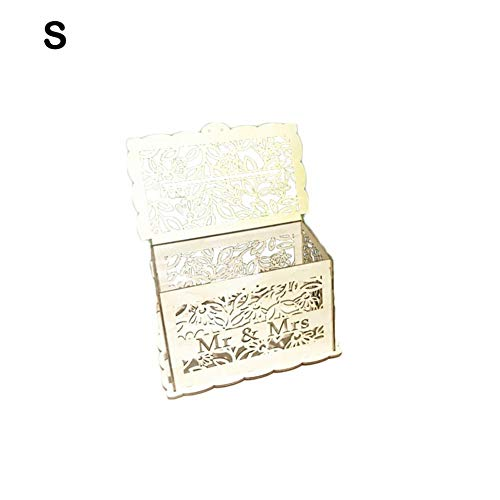 bouncevi Hölzerne Karte Box Aufbewahrungsbox Gast Wunsch Karte Box DIY Rustikale Umschlag Lagerung Memory Box Hochzeit Geburtstagsfeier