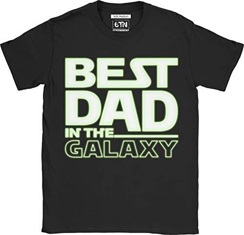 6tn uomo fosforescente migliore papà nel galaxy t shirt - nero, l
