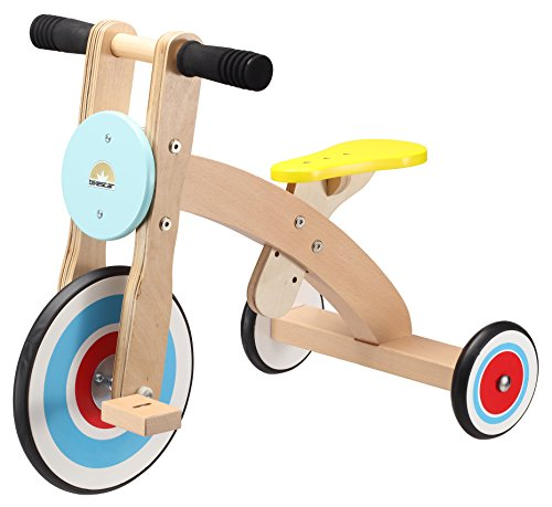 BIKESTAR Kids Wooden Tricycle Ride On Car Trike 3 Wheeler Wheely with Rubber Tires for Children Age 3 Years | Native Wood Edition | Blue