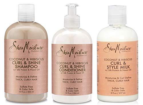 """Shea Moisture - 3er-Set für lockiges Haar mit Kokosnuss & Hibiskus - Shampoo """"Curl & Shine"""" + Spülung """"Curl & Shine"""" + Stylingmilch """"Curl & Shine"""""""