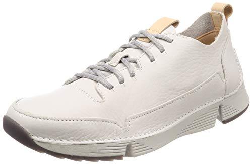 Clarks Tri Spark, Zapatillas para Hombre, Blanco (White Leather-), 41.5 EU