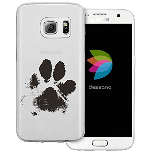 dessana Tier Pfoten Abdrücke Transparente Silikon TPU Schutzhülle 0,7mm dünne Handy Tasche Soft Case für Samsung Galaxy S7 Hunde Tatze
