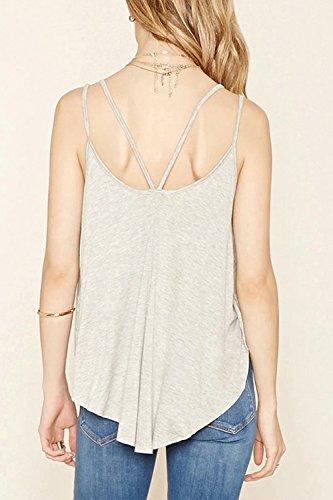 Frauen Ärmellose Weste Schlüpfen Sommer V T - Shirt. Grey