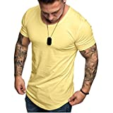 Camisetas Hombre Manga Corta SHOBDW 2019 Blusas Color Sólido Cómodo Tallas Grandes Tops Verano Camisetas Hombre Basicas Cuello Redondo Venta de liquidación M-3XL(Amarillo,XXL)