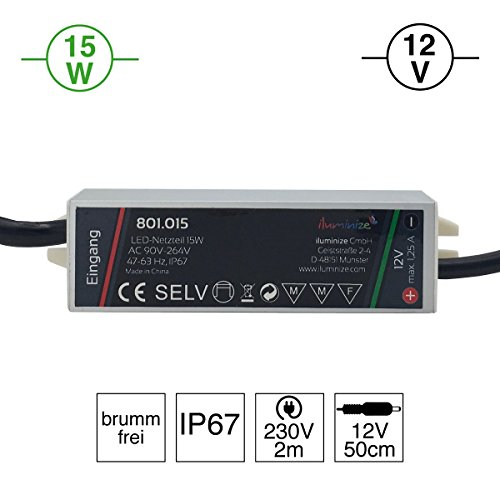 iluminize LED-Netzteil: hochwertiges & leistungsstarkes LED-Netzteil Aluminium 12V, 15 Watt, IP67, brummfrei, mit Netzstecker 230V und 12V Stecker
