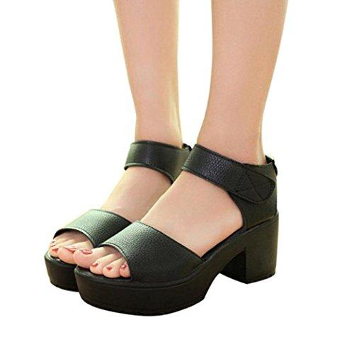 Elecenty Sandalen Damen Trichterabsatz Schuhe,Sommerschuhe Hoch Absatz Schuh Platform Regulierbaren Schnallen Shoes Offene High Heels Sandaletten Frauen Elegante Freizeitschuhe (39, Schwarz) (Wedge Runde Zehe Mid)