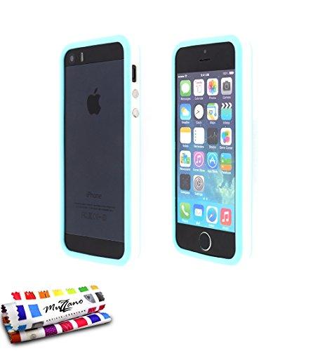 Flip-Case APPLE IPHONE 5S / IPHONE SE [Le Clap Touch Premium] [Weiss] von MUZZANO + STIFT und MICROFASERTUCH MUZZANO® GRATIS - Das ULTIMATIVE, ELEGANTE UND LANGLEBIGE Schutz-Case für Ihr APPLE IPHONE  Weiss und blau Lagune