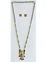DollsofIndia Gold Plated Mangalsutra With Stone Studded Pendant - Beads And Metal (DY71-mod) - Black