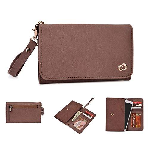 Kroo Pochette Housse Téléphone Portable en cuir véritable pour HTC Desire Eye, Huawei Ascend mate7 Violet - violet Marron - peau