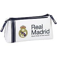 safta Real Madrid-Neceser pequeño Doble, 1ª equipacion Temporada 2016/2017 811654548, Color Blanco, 22 cm