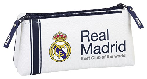 safta Real Madrid-Neceser pequeño Doble, 1ª equipacion Temporada 2016/2017 811654548, Color Blanco, 22 cm