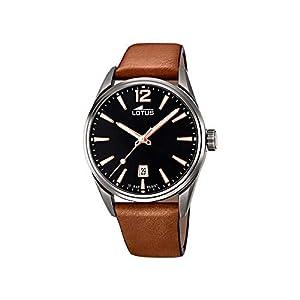 Reloj Lotus Chrono 18685/2 para Hombre, Color Acero Blanco y Correa marrón, 42mm
