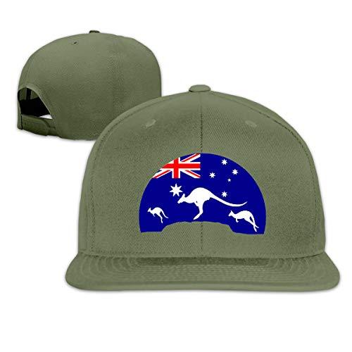 Osmykqe Loving Kangaroo Australian Flag Low Profile Baseball Caps Einstellbare Mütze - Sonnenschutz Moss Tweed