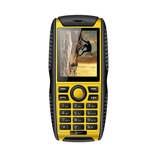 KENXINDA W3 2,2 Zoll Outdoor Smartphone IP68 Wasserdicht Shockproff Staubdichtes Dual-SIM-Karten GSM Kamera Bluetooth FM MP3 MP4 Alarm 2000mAh Akku Handy fuer Alten Leute Gelb