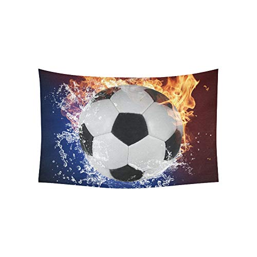 Tapiz Balón de fútbol Llamas de fuego Salpicaduras Tapices de agua ...