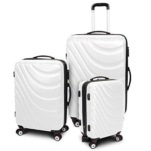 Kofferset 3-teilig Reisekoffer Trolley Hartschalenkoffer ABS Teleskopgriff Modell 'Wave' (Weiß)