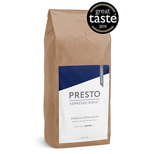 Presto KaffeeBohnen - Espresso Bohnen - 100% Arabica Kaffee ganze bohnen - kaffeebohnen espresso - 1kg Starke Kaffeebohnen - (1KG KaffeeBohnen)