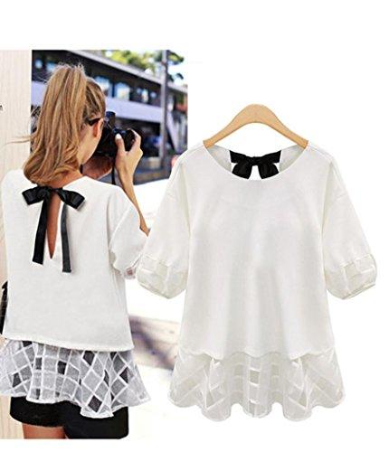 OverDose Damen Sommer Tops Frauen halbes Hülsen Hemd beiläufiges Spitze Blusen Chiffon lose Oberseiten T-Shirt Pulli Weiß