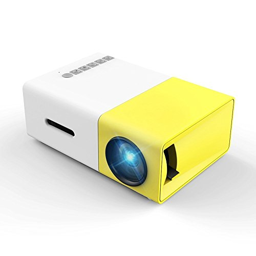 """Meer LED Portable Heimkino Projektor, 1200 Lumen 150 """"1080P unterstützt Projektor mit Lautsprecher für Film Nacht, Support TV, Laptop Spiel, SD, iPad iPhone Android Smartphone (YG300-EU)"""