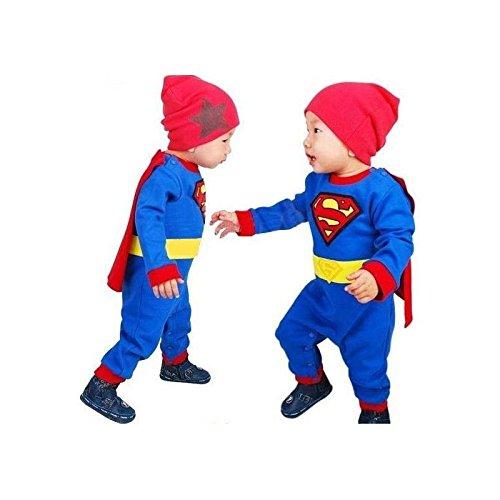 Superman, travestimento inverno bambino ragazzo 0a 2anni 3/6mesi, 12/18Mesi, 18/24Mesi, (2 Descrizione Pulsante)