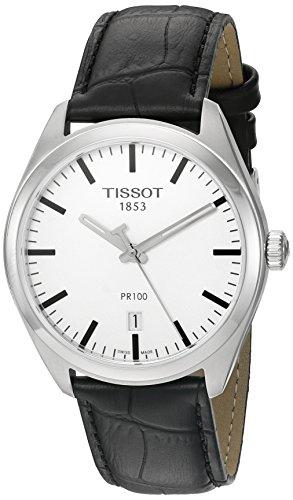 """Tissot """"Männern PR 100'Swiss Quarz Edelstahl und Leder Kleid Uhr, Farbe: Schwarz (Modell: t1014101603100)"""