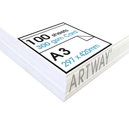 Artway Studio - Fotokarton - Ideal für Präsentationen, Zum Aufstellen und Zum Basteln - reinweiß - 300 g/m² - A3-100 Blatt