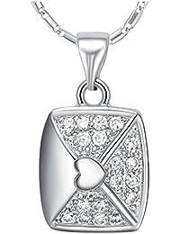 2a65e737b610 YLR 18 K chapado en oro blanco Joyas cadena estilo tarjeta de regalo  brillante Circonita Colgante