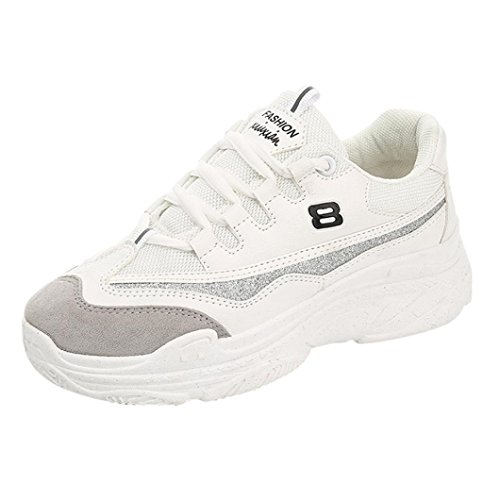 Sneakers zeppa basse estive per donna scarpe ginnastica fitness da donna, tacco 6 cm, scarpe sportive donna super leggere e ottimo, scarpe stringate comode e traspiranti (asia 38, bianco)