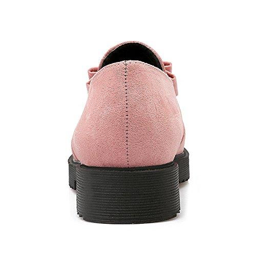 VogueZone009 Femme Dépolissement Tire Pointu à Talon Bas Couleur Unie Chaussures Légeres Rose