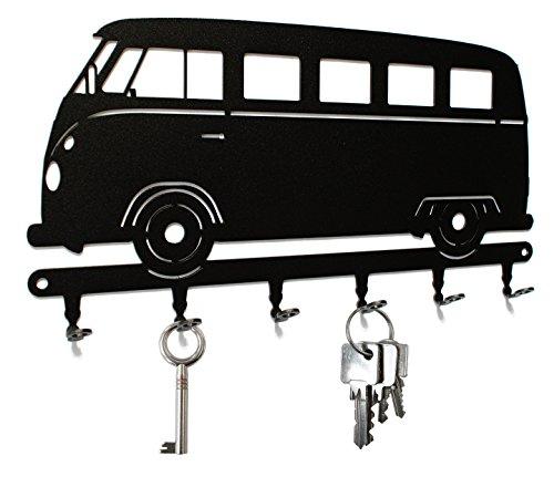 Schlüsselbrett / Hakenleiste * VW Bus T1 * - Schlüsselboard Volkswagen Transporter, Schlüsselleiste Bulli, Metall - 6 Haken schwarz