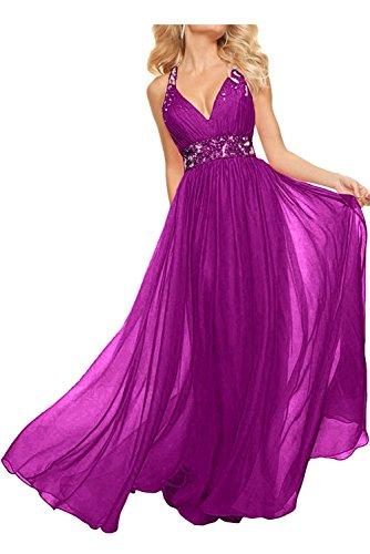 La_Marie Braut Rosa Damen V-ausschnitt Abendkleider Abschlussballkleider Partykleider Lang A-linie Rock Fuchsia