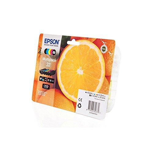 Preisvergleich Produktbild Original Tinte kompatibel zu Epson Expression Premium XP-645,  33 C13T33374010,  5X Premium Drucker-Patrone,  Schwarz,  Schwarz Foto,  Cyan,  Magenta,  Gelb,  1 x 6, 4 & 4 x 4, 5 ml