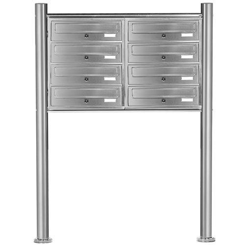 PRIMOPET Homelux V2A Edelstahl Standbriefkasten MBS08 Briefanlage Mailbox Postkasten mit 8 Brieffächer - 2