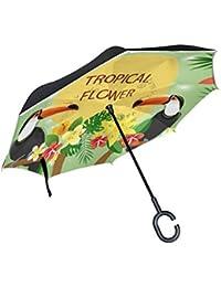 ALINLO Paraguas invertido diseño de pájaros Tropicales y pájaros de tucán, Doble Capa, Impermeable