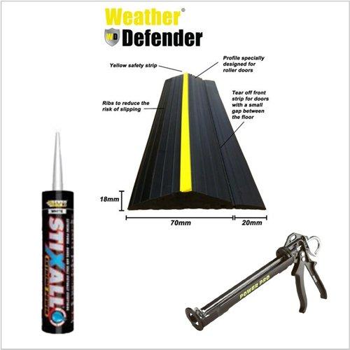 Weather Defender Dichtungsband Heavy Duty, 2,6 m, für Garagenboden, selbstklebend, strapazierfähig, Dichtstoff-Pistole - Garage Floor Kit