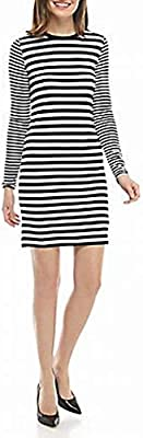 Michael Michael Kors Striped Dress, Regular & Petite - Black XXS